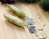 Yellow agate & Sterling silver Spiral earrings