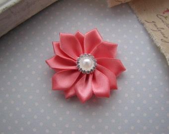 Flower Girl . satin ribbon flower . clippie . girls hair accessory . coral . choose your clip style