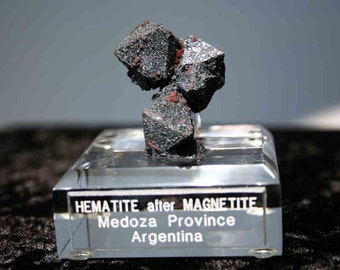 Martite Hematite Pseudomorph after Magnetite With Custom Made Stand