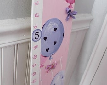 Wooden Growth Chart- Personalized and Handpainted- WHIMSY BALLOONSTheme
