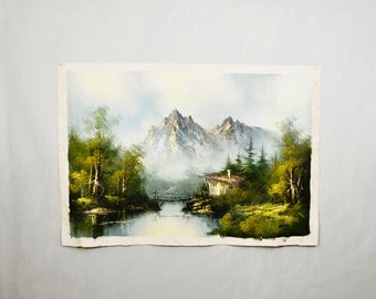 20 PERCENT OFF Code: 20FOR17 > 1960's Artist Signed Burke Souvenir Mountain Cabin Painting Large Free Canvas