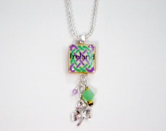 Ireland Scrabble tile with beads and shamrock necklace - shipping included