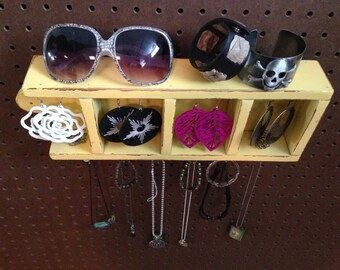 Upcycled Jewelry Organizing Display (Yellow 4 Section Cubby Tray)