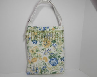 9x11 Vtg Floral Fabric Tote Hand Made Beaded Fringe Bag Blue Yellow White Sage Green Handbag Electronics Holder Carryall Project Craft Purse