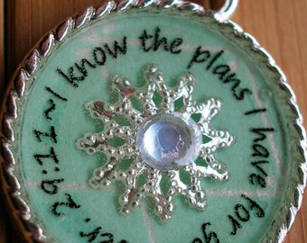 SALE Jeremiah 29 11 I know the plans I have for you...pale turquoise blue word quote scripture necklace pendant with chain