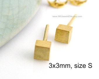 Citron ice cube stud earrings, men's earrings, gold stud earrings, small stud earrings, cube square stud earrings, 3mm 465G