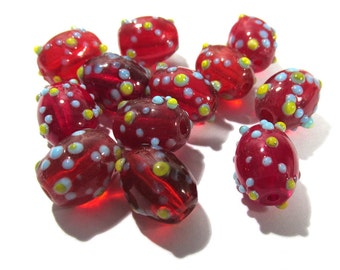 14mm Red Glass Lampwork Beads Twelve (12) Lampwork Red Blue Yellow Bumpy Lampwork Vintage Jewelry Supplies Vintage Glass Beads (G15)