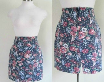 Floral Pencil Mini Skirt Vintage 1980s High Waisted Cotton