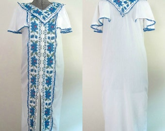 Vintage Mexican Embroidered Maxi Dress Duster 1970s Ethnic Boho Wedding Dress / Sale Price Reduction