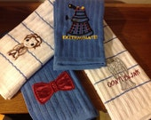 Embroidered Dr Who kitchen towels, set of 4-customizations available