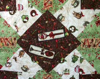 Christmas Quilt Hot Chocolate Cocoa Winter Quilted Quiltsy Handmade FREE U.S. Shipping