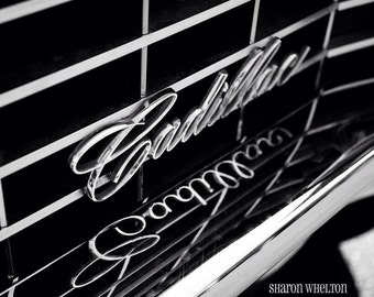 Black & White Cadillac Photograph on Archival Metallic Paper - Nostalgic Monochromatic Automotive Decor