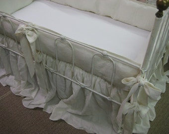 Washed Linen Crib Bedding in Cream - Tailored Bumpers with Sash Ties - Storybook Crib Skirt