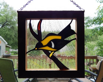 Stained Glass Goldfinch Panel with Barn Board Frame