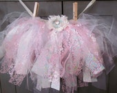 Whimsical Pink/Blue Fabric Lace Tulle Tutu With Matching Hair bow