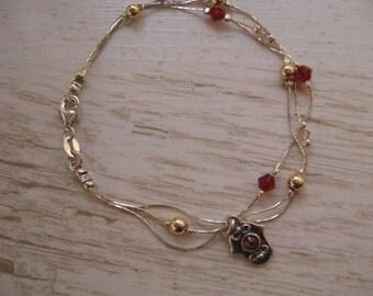 Hamsa Bracelet, Dainty Hamsa Charm Bracelet, Swarovski Crystal 14K Goldfill Beads and Sterling Silver