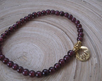 Hamsa Bracelet, Garnet Bracelet, Beaded Charm Bracelet, Gold Hamsa and Garnet Bracelet, Yoga Stretch Bracelet, January Birthstone