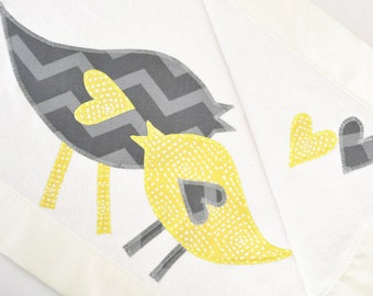 Personalized Organic Baby Blanket with Retro Birds -- Yellow and Gray