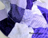 Purple Lavender Minky Patchwork Quilt Blanket for Baby Toddler