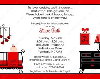 10  PRINTED Red Ladybug Girl Baby Shower Invitations with Envelopes.  Free Return Address Labels