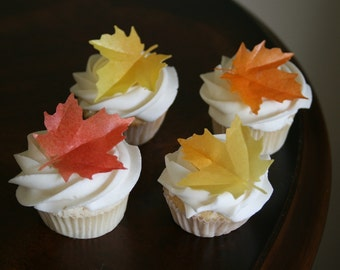 15 Wafer Large Maple Fall Leaves