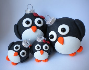 Penguin Family  Ornaments / Set of FOUR, CUSTOMIZED