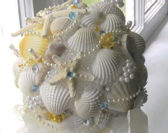 Seashell Beach Bride Bouquet - Sea Urchin, Starfish, and Pearls- Sunny Yellow & Beachy Blue