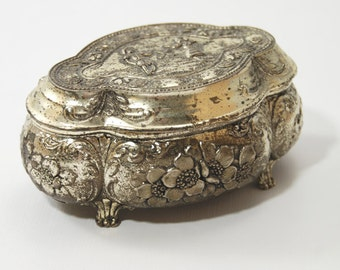 Vintage ornate small silver jewelry box
