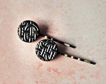 Pair of Ceramic Hair Pins - Pewter Glaze - Hair Jewelry Accessory Bobby Pin- Celtic Knot Texture