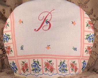 Monogram Tea Cozy Chocolate Cozy Hand Embroidery Handkerchief Print
