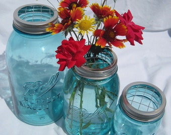Garden Flower Frog LIDS 3 Mason Jar Flowers DIY Wedding, Fruit Jar Canning Jar Vase Garden Centerpiece Handmade Lids Only , No Mason Jars