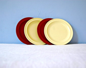 Melamine Snack Plate Set Vintage Prolon 1960s Maroon Small Yellow Melmac Plates Bread Butter Salad Appetizer Four