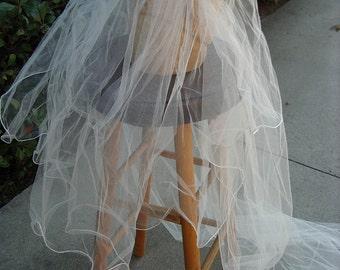 """Wedding Veil with Orange Blosom Flower Cap. 27"""" Modesty Veil 2 3/4 yd. Train- item 739, Wedding Apparel"""