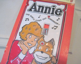 vintage 1980s ANNIE Light Switch Plate - NOS, new old stock - never used