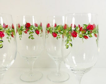 Wine Glasses Red Roses Hand Painted Flowers Set of 4
