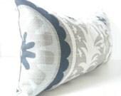 CUSTOM MADE Extra Large Rustic Chic Black, White, Brownish Gray Light Blue Lumbar Pillow Cover, Grey Decorative Throw, Rustic Pillow, Suzani