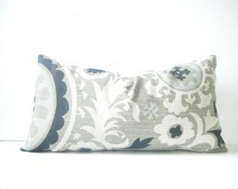 Rustic Chic Black, White, Brownish Gray and Light Blue Lumbar Pillow Cover, grey Decorative Throw Pillow 12x22 Inch, Rustic Pillow, suzani