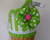 Crown Hat- Birthday- Photo Prop- Big Bow- lime green dots and stripes- with or without flag