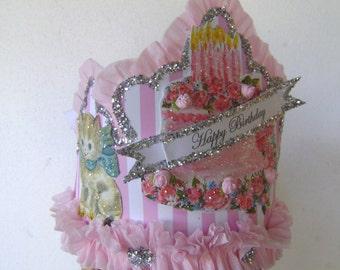 Kitty Birthday Crown, Kitty Birthday Hat, Kitty cat Birthday, Birthday cake hat, Birthday cake Crown, girl birthday, customize