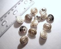 Vintage Silver Tone Bi-Metal Brass Shank Buttons 5/8  Inch Diameter