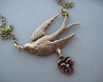 Bird Necklace - Bird Pendant - Victorian Jewelry - Vintage Style - Romantic Jewelry - Pansy Necklace - Birthday Gift - Victorian Style