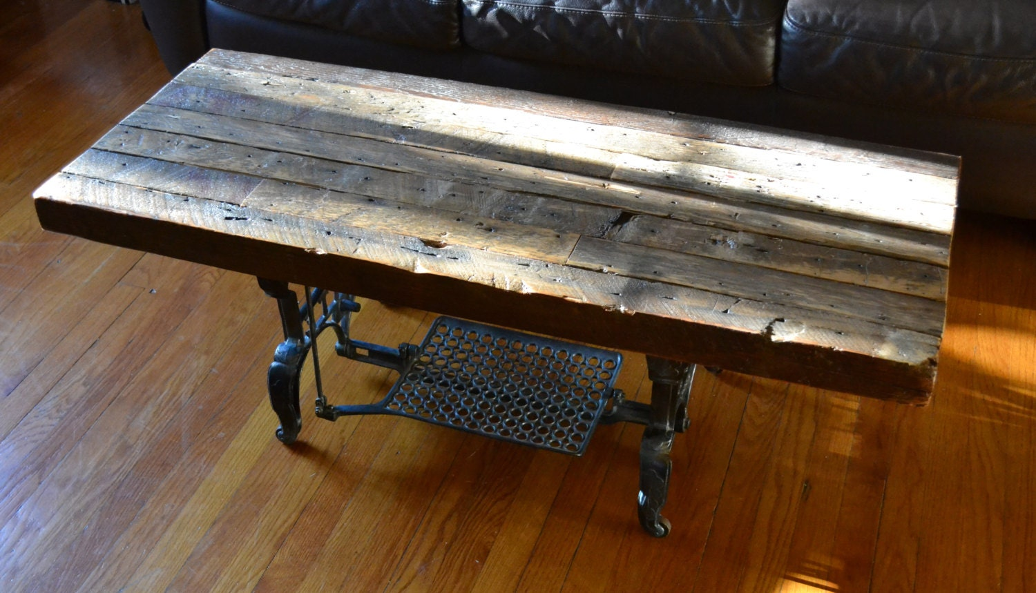 Reclaimed Wood Coffee Table With Antique Cast Iron Base