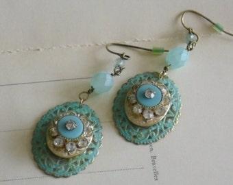 upcycled aqua blue filigree drop earrings-vintage assemblage earrings-ooak romantic jewelery