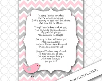 Lovely Pink Gray Bird Thank You Poem Notes / INSTANT Download / Girl Baby Shower  Stationery
