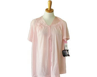Vintage 80s Vanity Fair Pink Sleep Shirt - Women L - pink, NOS, nwt, New with tags, deadstock