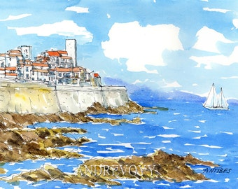 ANTIBES France art print from an original watercolor painting