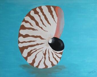Nautilus Shell Acrylic Painting Beach Cottage Decor Summer Wall Decor