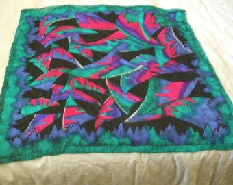 Vibrant Abstract Patterns Scarf ,Bright Turquoise, Pinks, Purple and Black  ,Hand Rolled,, 30 x 30
