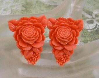 Orange Rose Celluloid Dress Clips