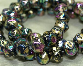 Strand of 20 Gold Iris Splattered German Glass Beads. NGL618